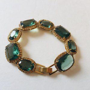 Monet Green Emerald Rhinestone Gold Tone Bracelet